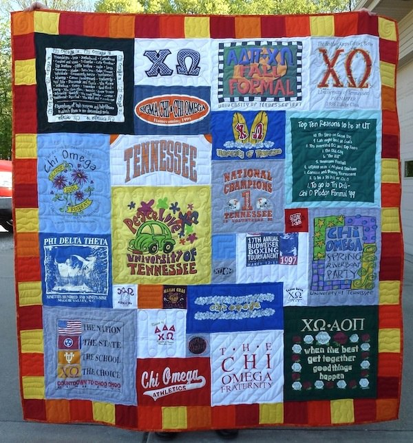 This is a T-shirt quilt that was made from an poorly made traditional style quilt.