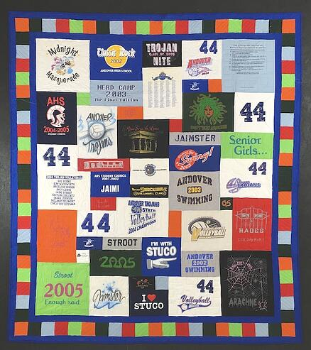 "T-shirt quilt with a 2"" solid + 4"" pieced + 2"" solid border"
