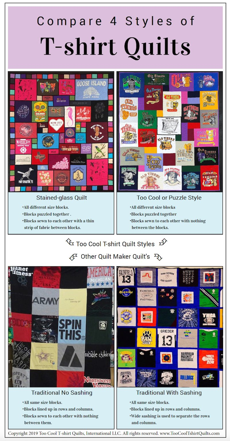 This infographic compares 4 types of T-shirt quilts. You can quickly see the difference between all 4 styles here.