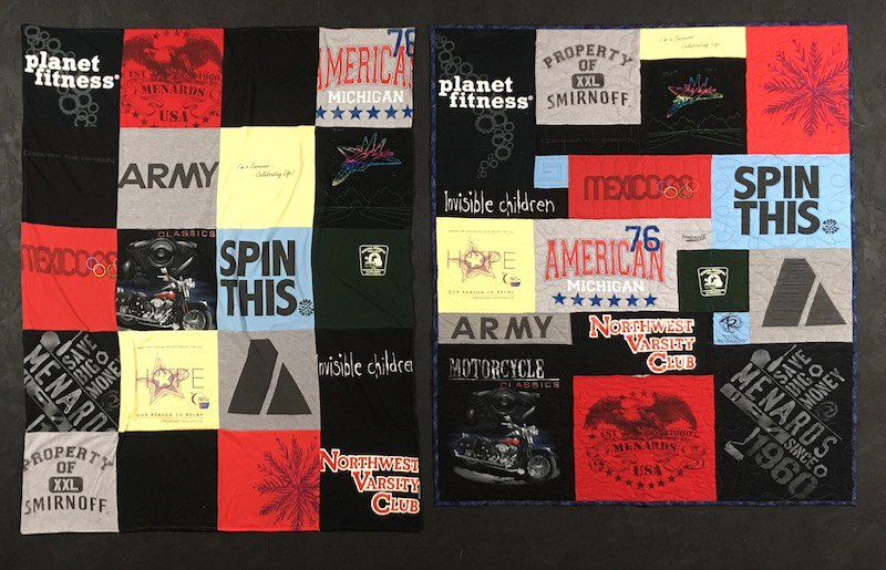 Compare a traditional style T-shirt blanket to a puzzle style T-shirt Quilt