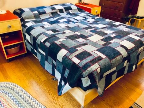 Complete blue jean quilt