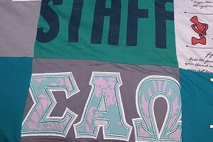 Cropped off images in a T-shirt quilt