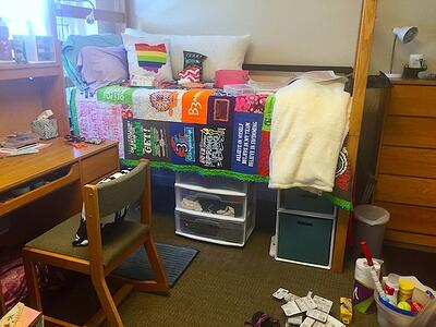 T-shirt quilts in the dorms