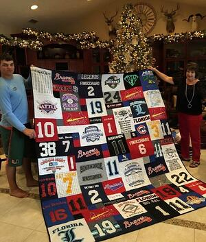A T-shirt quilt given at Christmas.