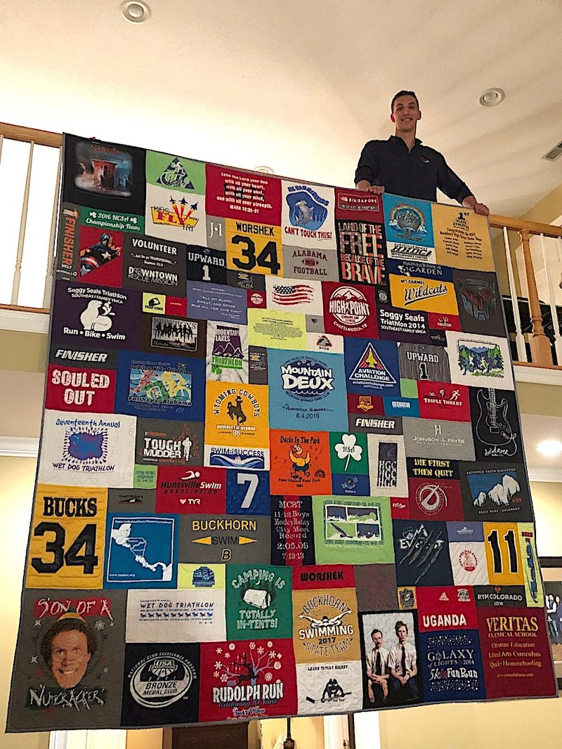 This guy loves his T-shirt Quilt