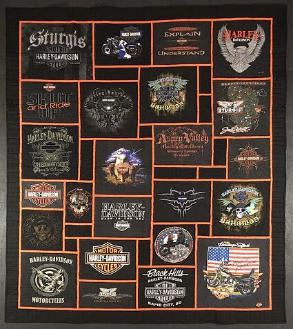HarleyDavidson Stained glass T-shirt Quilt