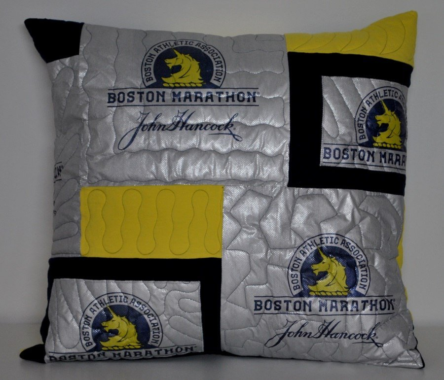 Pillow made from Athletic warming blankets