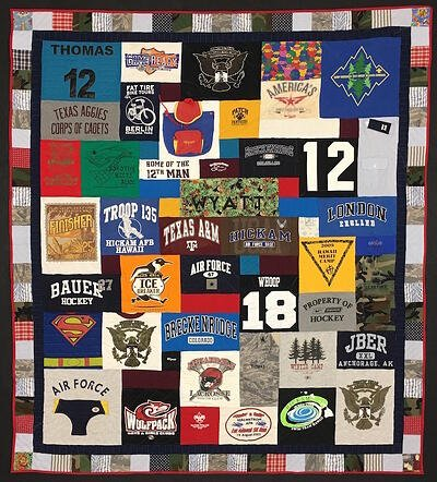 Hybrid memorial quilt make from clothing and T-shirts