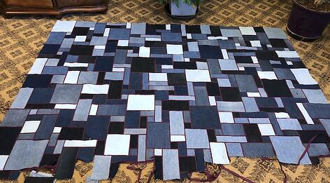 Jean stained glass quilt in progress