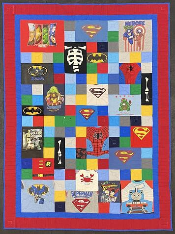 Use blank blocks and a border to make a T-shirt quilt large.