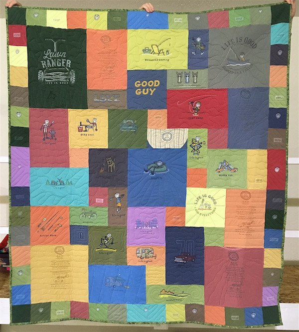 Life is Good T-shirt quilt