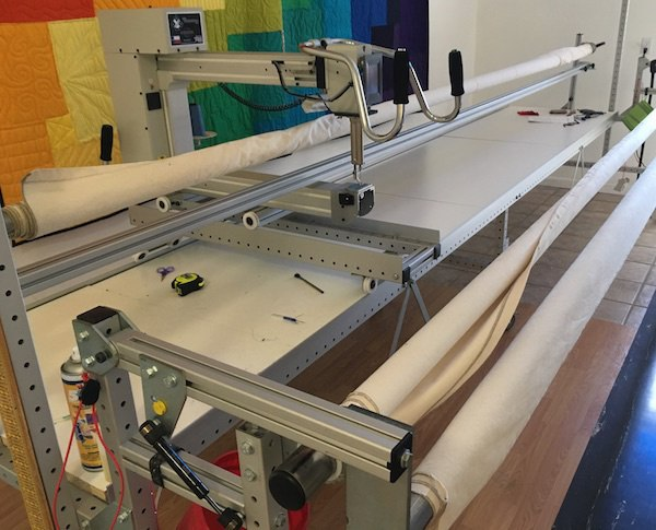 Long arm quilting machine for a T-shirt quilt