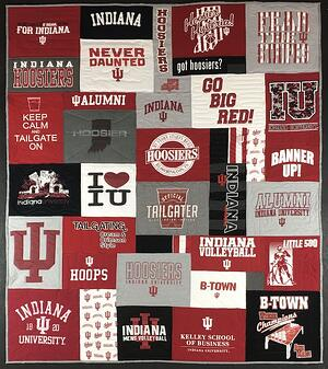 Indiana University T-shirt quilt by Too Cool T-shirt Quilts.
