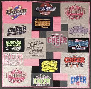 A cheerleading T-shirt quilt by Too Cool T-shirt quilts