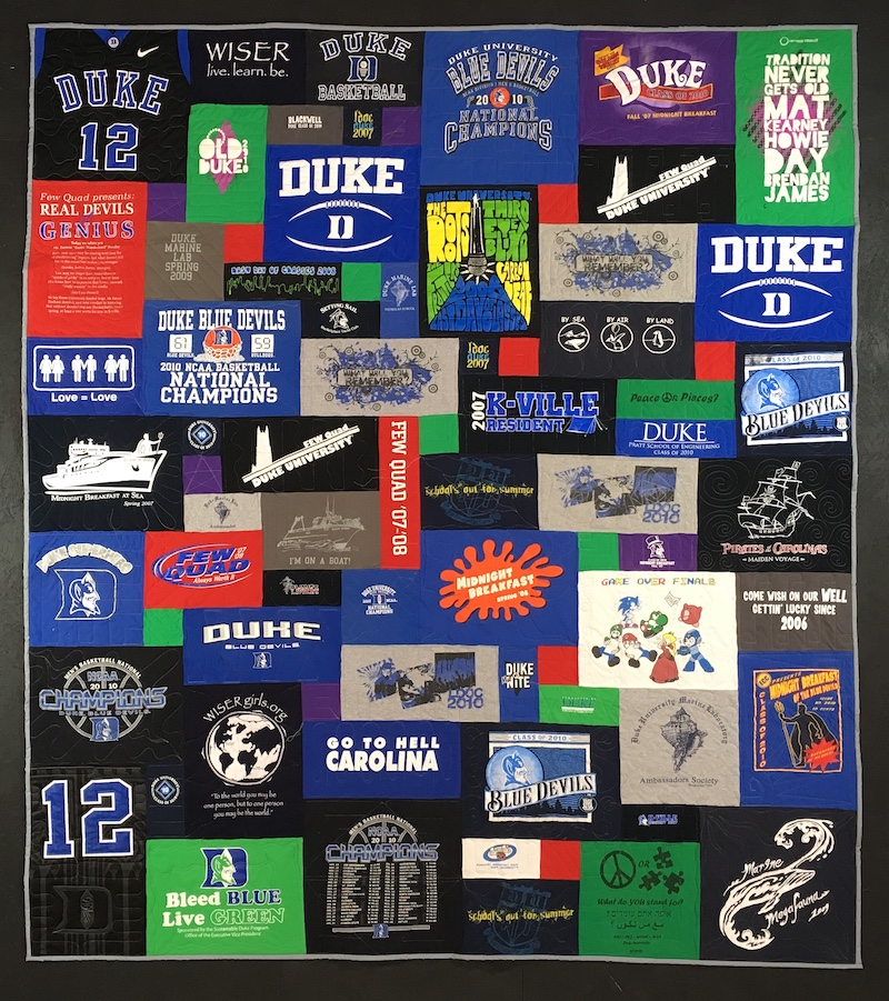 Colorful Duke T-shirt quilt by Too Cool T-shirt quilts