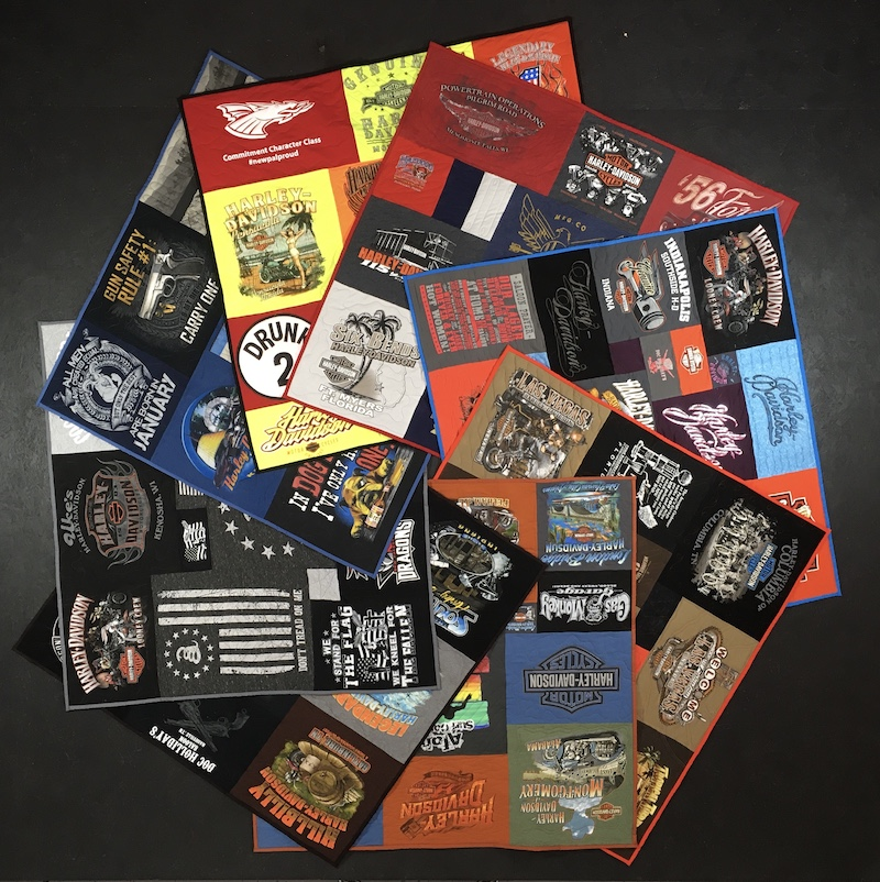 8 Memorial Harley Davidson T-shirt quilts