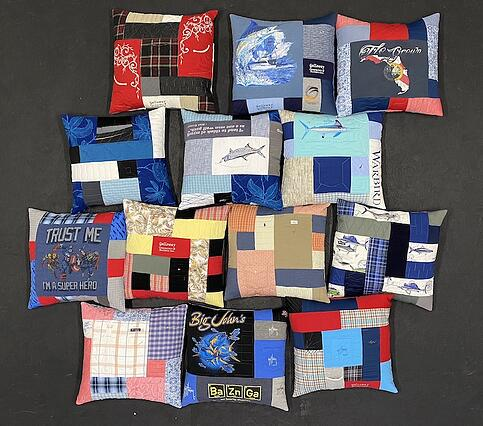 Memorial - big group of clothing pillows