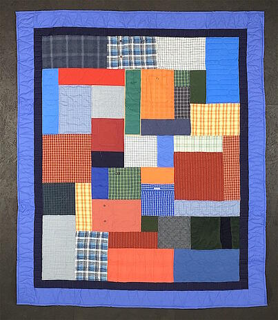 Memorial quilts made from plaid shirts