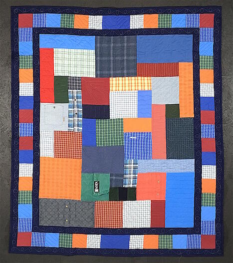 Memorial quilt with dress shirt border