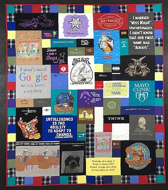 Memorial T-shirt quilt with plaid accents