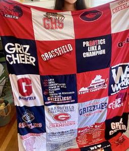 Memory stitch T-shirt blanket
