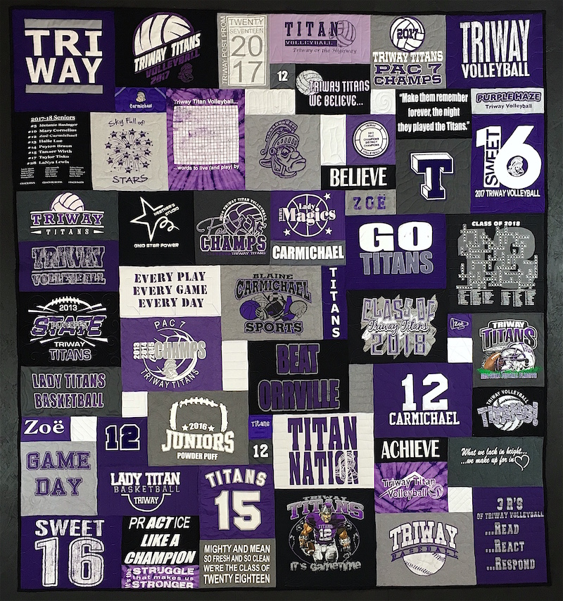 #TriWay Titan graduation T-shirt quilt by by Too Cool T-shirt Quilts.