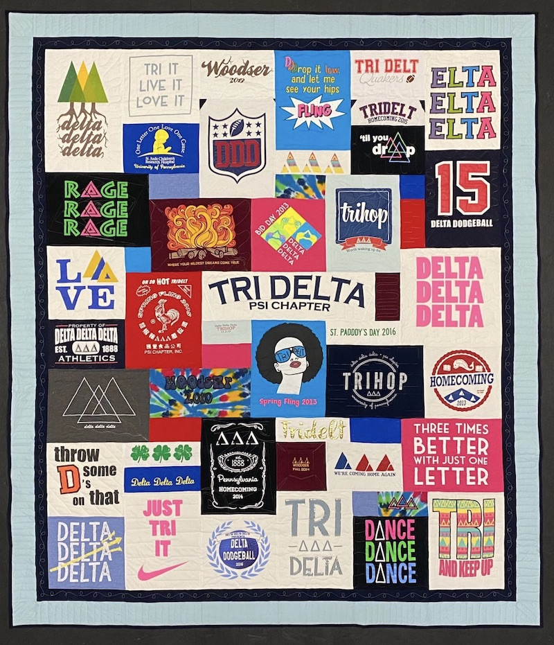Tri Delta T-shirt quilt by Too Cool T-shirt Quilts
