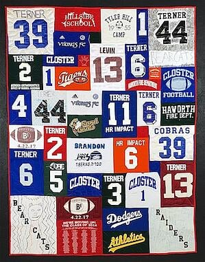 Numbers and names on a T-shirt quilt.