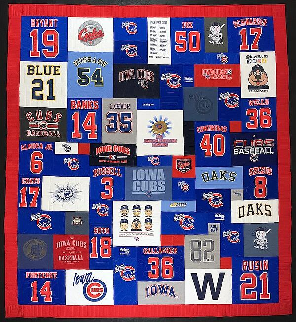 A baseball player's quilt with his numbers.