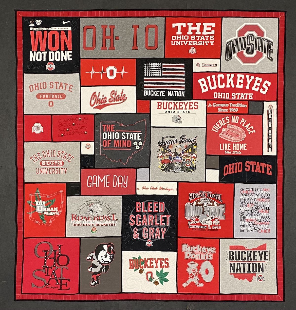 Ohio State Stained glass by Too Cool T-shirt Quilts.
