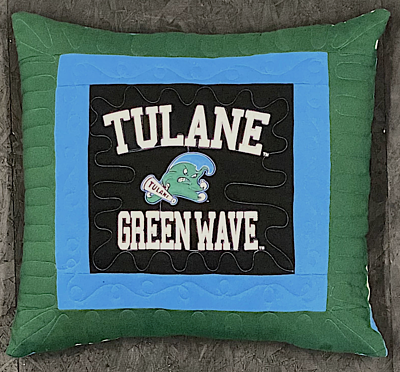 One T-shirt Pillow - Tulane Too Cool T-shirt Quilts