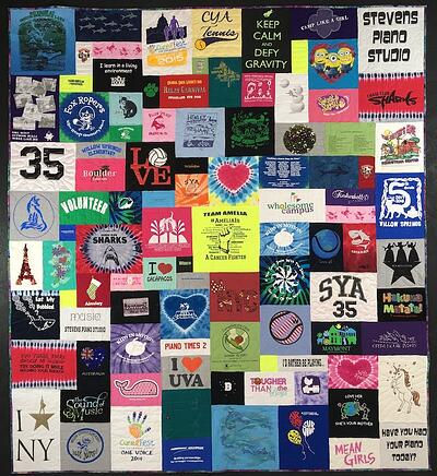 One neon centered and balanced in a T-shirt quilt