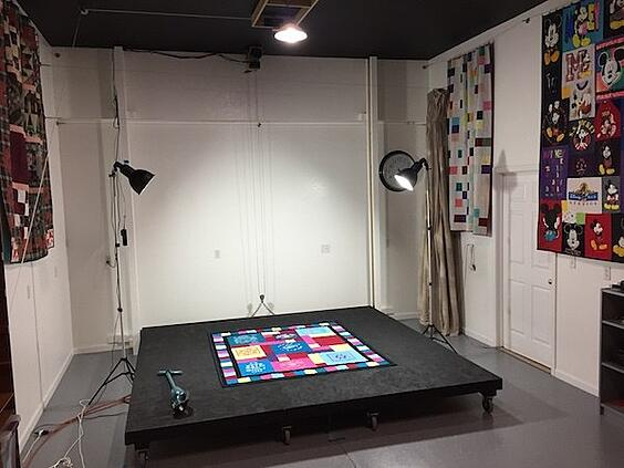 Photo studio at Too Cool T-shirt quilts.