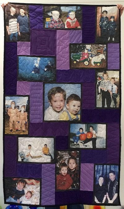 A quilt made from photographs to celebrate the life of a young man who died way too young.