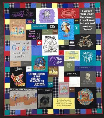 Plaid border on a T-shirt quilt memorial quilt
