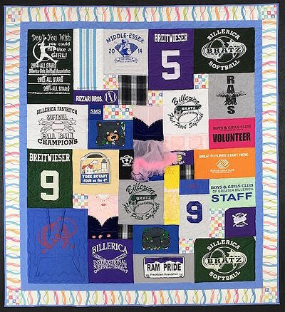 Printed Border added to a T-shirt quilt
