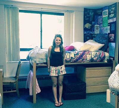 Quilt in dorm room