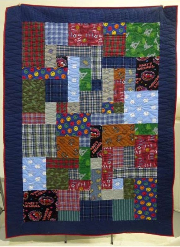 A quilt made with pjs and lounge pants