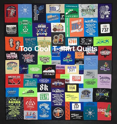 This quilt was made for a runner who races each weekend.