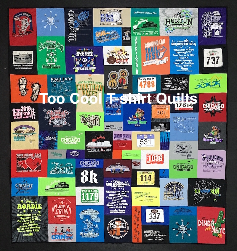 This is a T-shirt quilt made from a runner's T-shirts and race bibs.
