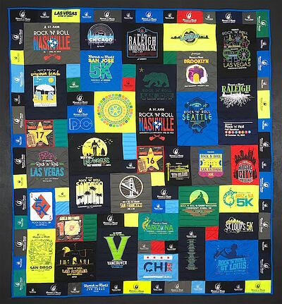 Rock'n'Roll Marathon races used in the border of this T-shirt quilt