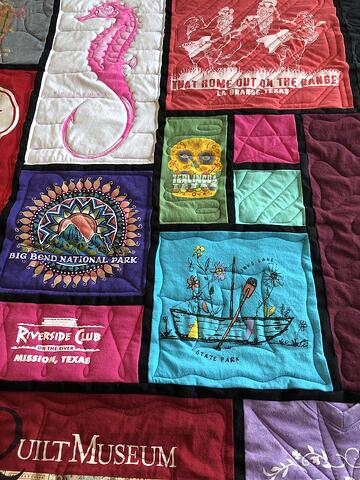 Stained Glass T-shirt Quilt - Close up