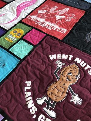 Stained glass T-shirt quilt close up