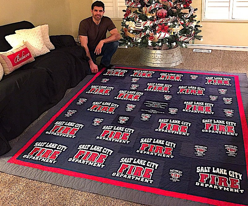 Salt Lake fire fighter with his T-shirt quilt