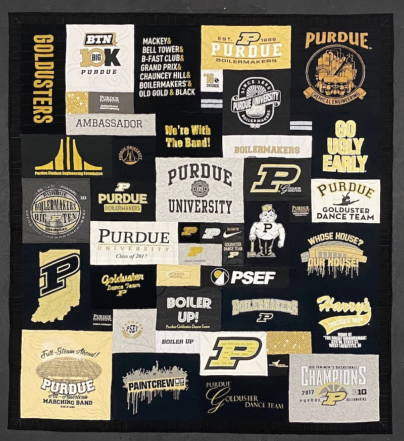 Purdue T-shirt quilt by Too Cool T-shirt Quilts.