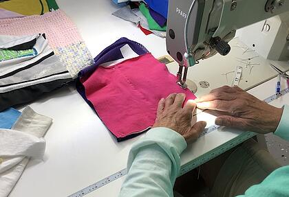 Sewing a memorial quilt