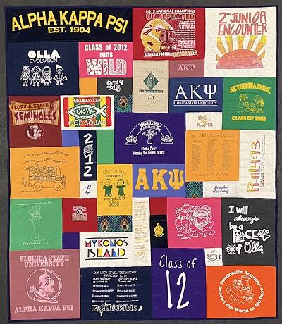 Sorority AKOmega T-shirt Quilt by Too Cool T-shirt Quilts.