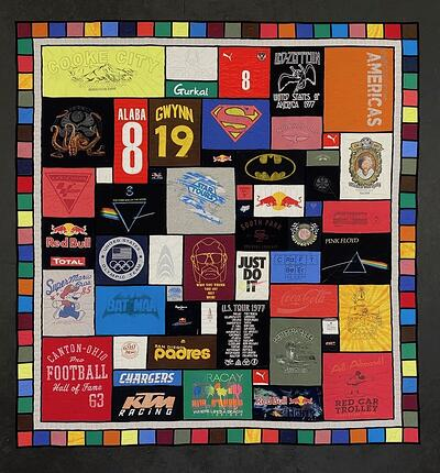 Stained-glass double border - colorful by Too Cool T-shirt Quilts