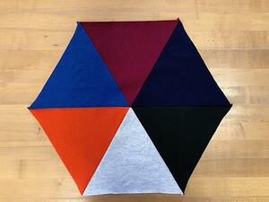 Test triangle block from T-shirt material