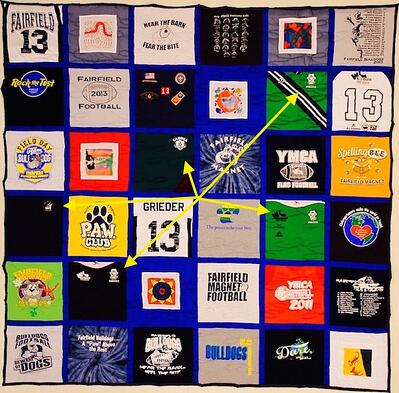Traditional style T-shirt quilt with how stupid small logos look cut with a huge block.